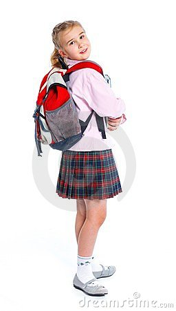Free Little Blond School Girl With Backpack Bag Royalty Free Stock Photos - 24178878
