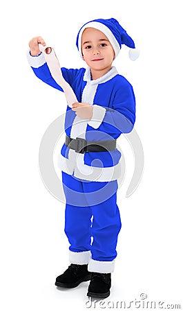 Little blue Santa Claus boy holding blank wish list