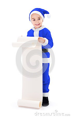 Little blue Santa Claus boy showing wish list
