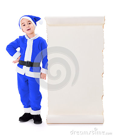 Little blue Santa Claus standing near big wish list