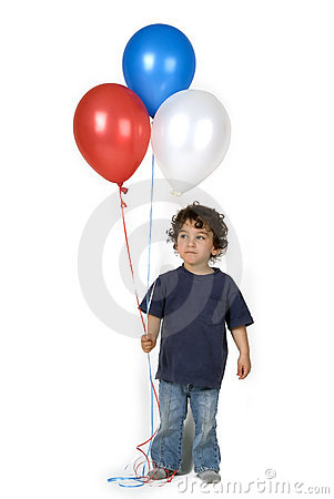 Little boy 3 balloons