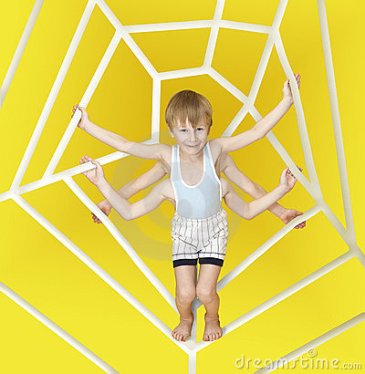 A little boy with 6 hands like a spider