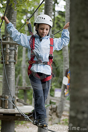 Little boy in adventure park