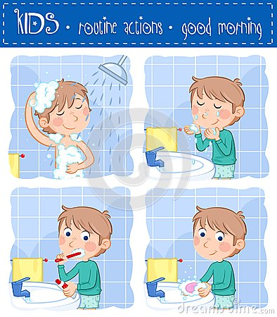 Free Little Boy And Daily Routine Action - Good Morning Stock Images - 103381384