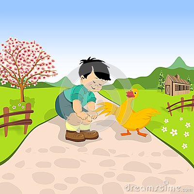 Free Little Boy And Duck Royalty Free Stock Photos - 54621978