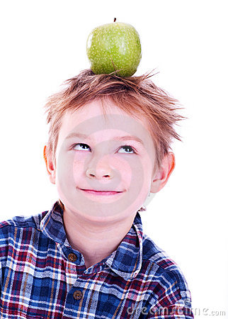 Little boy with apple.