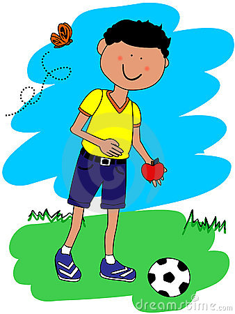Little boy with ball and apple