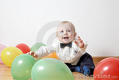 Little boy with baloon