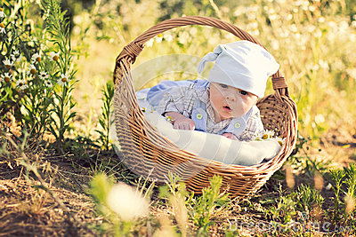 Little boy with a basket