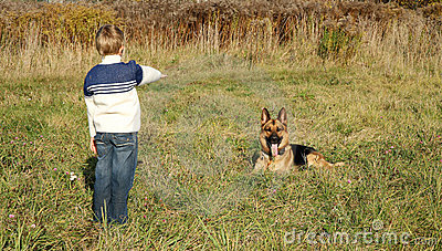 Little boy and big dog (German Shepherd )