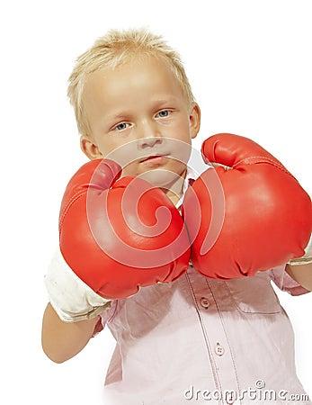 Little boy big gloves