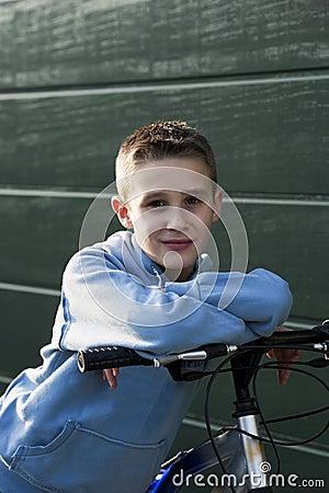 Little boy with bike