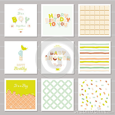 Free Little Boy Birthday And Baby Shower Invitation Cards Set. One Year Anniversary. Sweet And Balloon Letters. Cute Festive Stock Image - 90745591