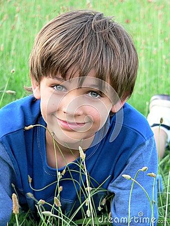 Little Boy Blue Green Field Stock Photo - Image: 5359510