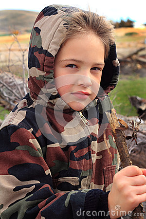 Little Boy in Camo Hoodie