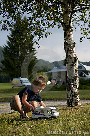 Little boy at camping site