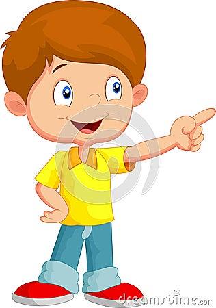Free Little Boy Cartoon Pointing Away Stock Image - 45759691