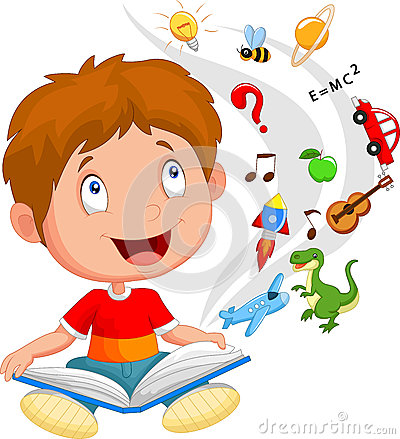 Free Little Boy Cartoon Reading Book Education Concept Illustration Stock Photography - 45854552