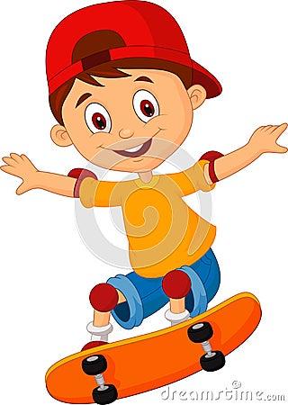 Free Little Boy Cartoon Skateboarding Royalty Free Stock Image - 33236096