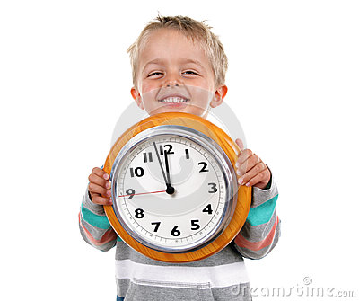 Little boy with clock