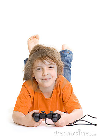 Little boy with console controller