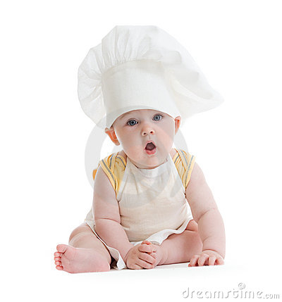 Little boy with cook hat isolated