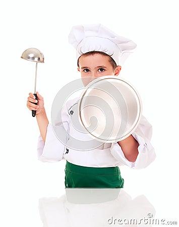 Little boy cook threaten