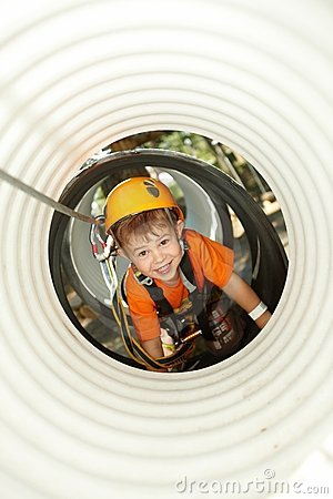 Free Little Boy Crawling In Adventure Park Stock Image - 13326061