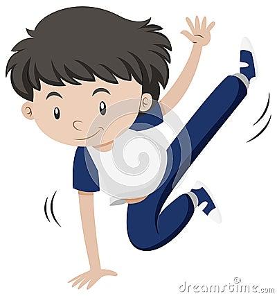 Little boy dancing hiphop Vector Illustration