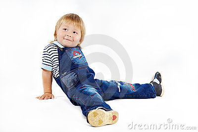 The little boy in dark blue overalls