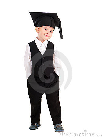 Little boy dressed Bachelor cap