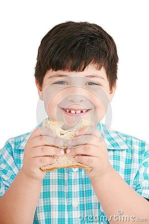 Little boy eating a integral bread, sandwich