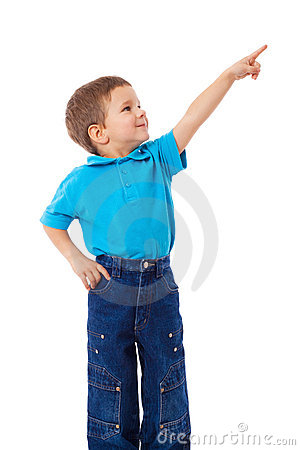 Little boy with empty pointing hand