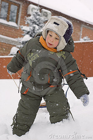 Little boy enjoy winter outdoor