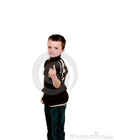 Little boy with finger pointing up