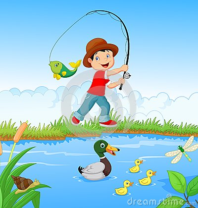 Free Little Boy Fishing Stock Photo - 45856510