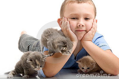 The little boy with a fluffy kittens