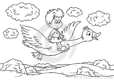Little boy flying on a goose