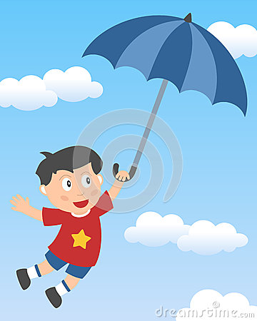 Little Boy Flying with Umbrella