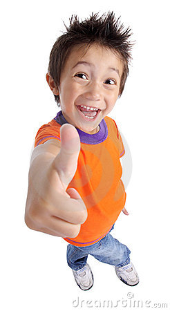 Little boy gesturing thumbs up sign