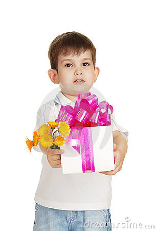 The little boy with a gift and the colors