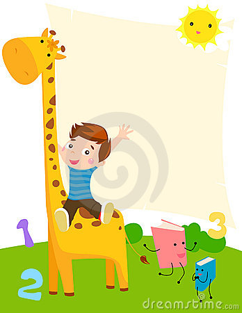 Little boy and giraffe
