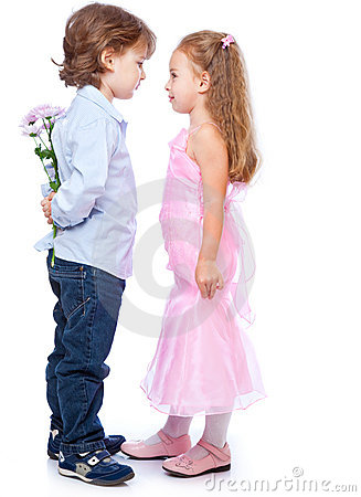 Little boy and girl in love