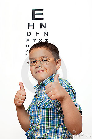Little Boy with Glasses at Optometrist