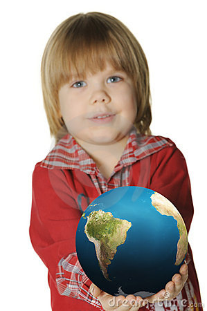 The little boy with the globe