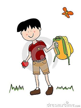 Little boy going back to school