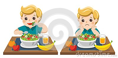 Little boy happy and Unhappy to eat salads. Vector Illustration
