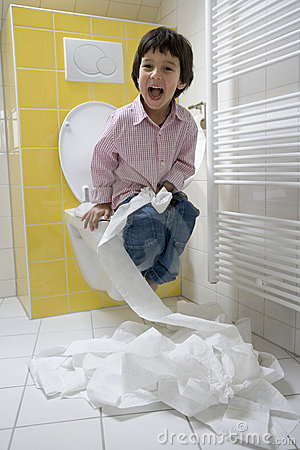 Little Boy Has A Lot Of Fun With Toilet-paper In