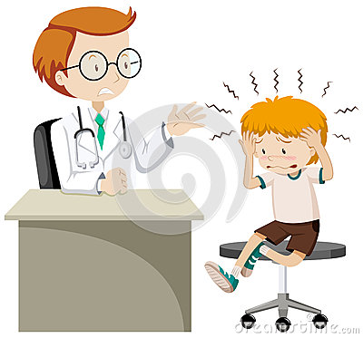Little boy with headache visiting doctor Editorial Stock Image
