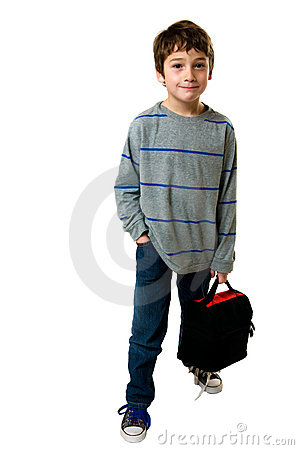 Little boy with his lunch box